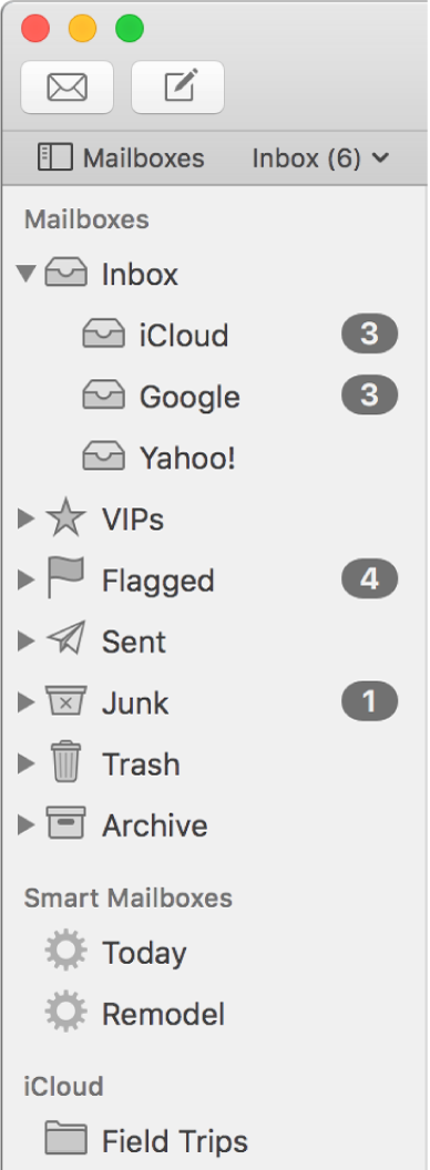 The Mail sidebar showing different accounts and mailboxes. Above the sidebar is the Mailboxes button (located in the Favorites bar) that you click to show or hide the sidebar.