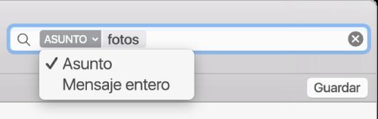 Haz clic en la flecha de un filtro de búsqueda para modificarlo.