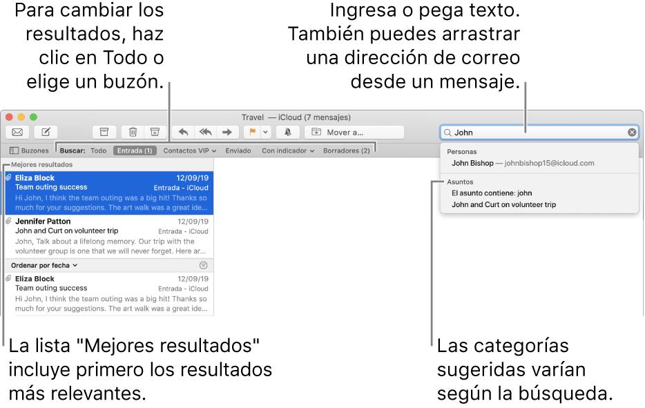 """El buzón en que se busca aparece resaltado en la barra de búsqueda. Para buscar en otro buzón, haz clic en su nombre. Puedes escribir o pegar texto en el campo de búsqueda, o arrastrar una dirección de correo electrónico desde un mensaje. A medida que escribes, aparecen sugerencias bajo el campo de búsqueda. Están organizadas en categorías, como Asunto o Archivos adjuntos, dependiendo del texto de búsqueda. """"Mejores resultados"""" muestra primero los resultados más relevantes."""