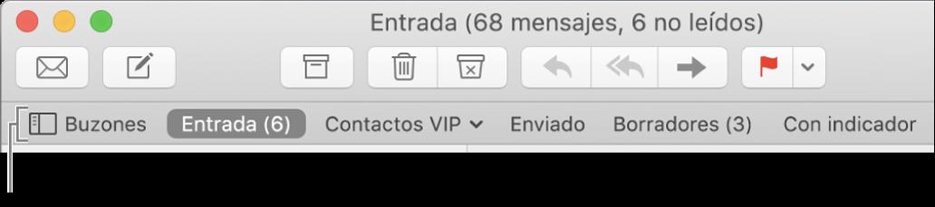 """Barra de favoritos mostrando el botón Buzones y botones para Entrada, Contactos VIP, Enviado, Borradores y """"Con indicador""""."""