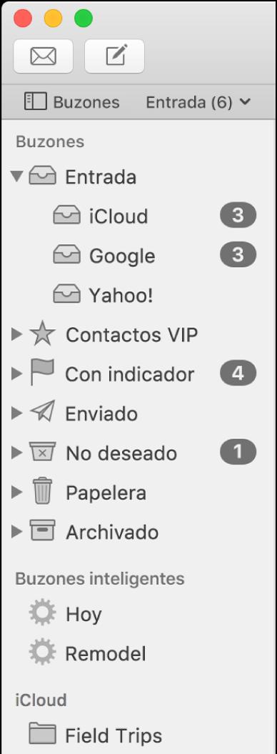La barra lateral de Mail con diferentes cuentas y buzones. Encima de la barra lateral está el botón Buzones (situado en la barra de favoritos) que muestra u oculta la barra lateral.