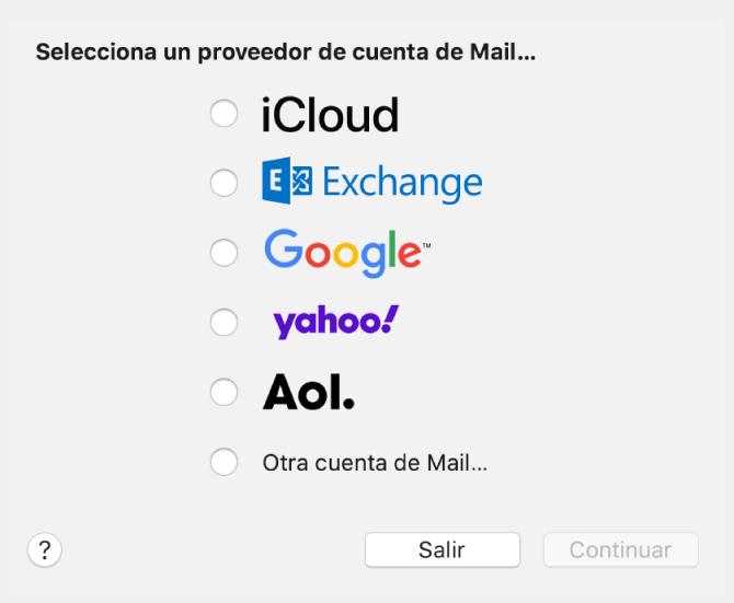 """El cuadro de diálogo de selección de un tipo de cuenta de correo electrónico, en el que se muestra iCloud, Exchange, Google, Yahoo, AOL y """"Otra cuenta de Mail""""."""