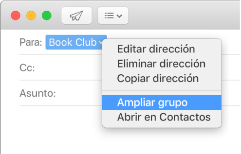 """Un correo electrónico que muestra un grupo en el campo Para y el menú desplegable que muestra el comando """"Ampliar grupo""""."""