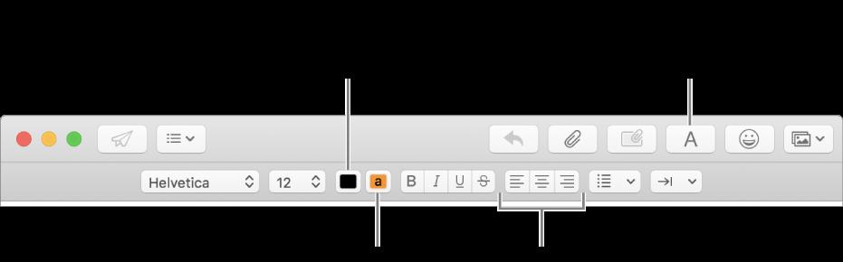 La barra de herramientas y la barra de formato en una ventana de mensaje nuevo, que indica el color del texto, el color del fondo del texto y los botones de alineación del texto.