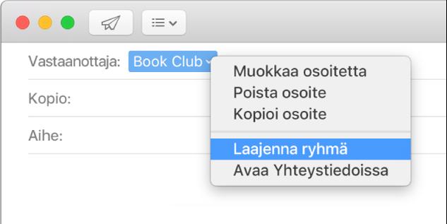 Sähköposti, jossa näkyy ryhmä Vastaanottaja-kentässä, ja ponnahdusvalikko, jossa näkyy Laajenna ryhmä -komento.