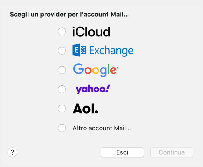 """La finestra di dialogo per la selezione del tipo di account e-mail mostra le opzioni iCloud, Exchange, Google, Yahoo, AOL e """"Altro account Mail…""""."""