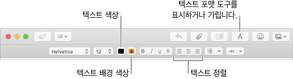 텍스트 색상, 텍스트 배경 색상 및 텍스트 정렬 버튼을 표시하는 새로운 메시지 윈도우의 도구 막대 및 포맷 지정 막대.