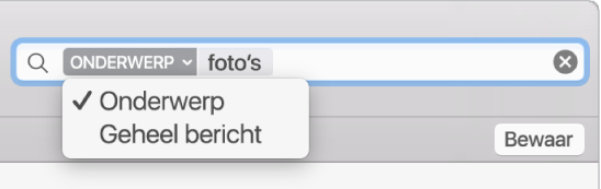 Klik op de pijl van een zoekfilter om het filter te wijzigen.