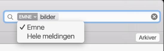 Klikk på pilen i et søkefilter for å endre filteret.