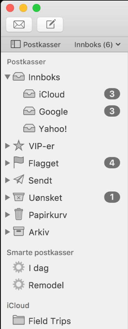 Mail-sidepanelet som viser forskjellige kontoer og postkasser. Over sidepanelet er Postkasser-knappen (finnes i favorittlinjen) som du klikker på for å vise eller skjule sidepanelet.