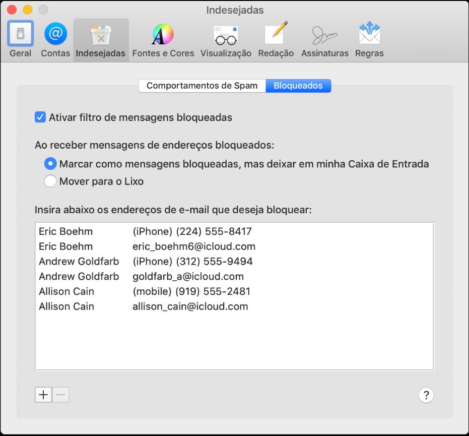 O painel da preferência Bloqueados mostrando uma lista de remetentes bloqueados. A opção para ativar a filtragem de e-mails bloqueados está selecionada, assim como a opção para marcar e-mails como bloqueados mas deixá-los na Caixa de Entrada após seu recebimento.