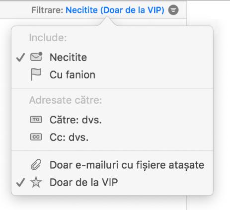 Meniul pop-up de filtrare care prezintă șase filtre posibile: Necitite, Semnalizate, Către: Mine, CC: Mine, Doar e‑mailuri cu fișiere atașate și Doar de la VIP.