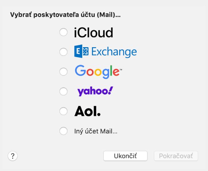 Dialógové okno na výber typu emailového účtu, ktoré zobrazuje možnosti iCloud, Exchange, Google, Yahoo, AOL aIný účet Mail.