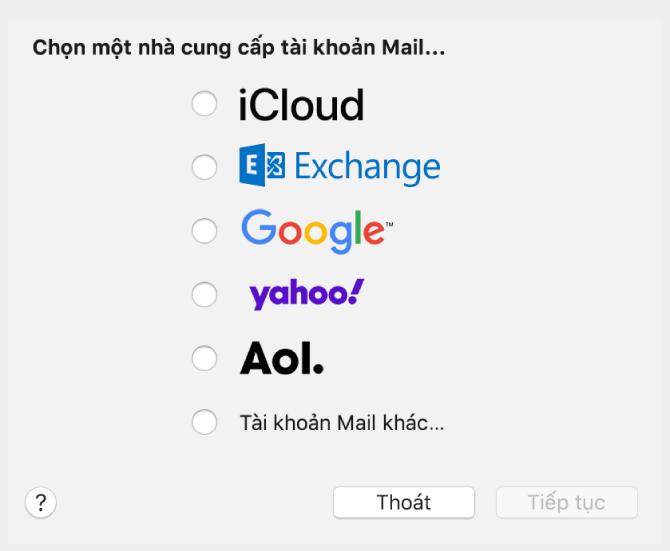 Hộp thoại chọn loại tài khoản email, đang hiển thị iCloud, Exchange, Google, Yahoo, AOL và Tài khoản Mail khác.