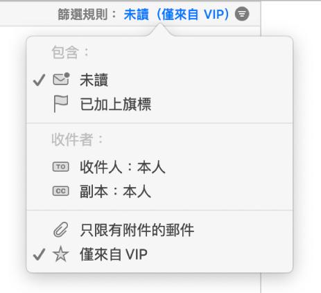 過濾器彈出式選單顯示六種可能的過濾器:「未讀」、「已加上旗標」、「收件人:」「本人」、「副本:」「本人」、「只限有附件的郵件」和「僅來自 VIP」。