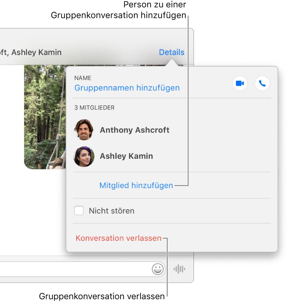 """Darstellung """"Details""""; sie wird angezeigt, wenn du in einer Gruppenkonversation auf """"Details"""" klickst. Unter dem letzten Teilnehmer in der Liste wird """"Mitglied hinzufügen"""" angezeigt; ganz unten im Fenster ist die Option """"Konversation verlassen"""" zu sehen."""
