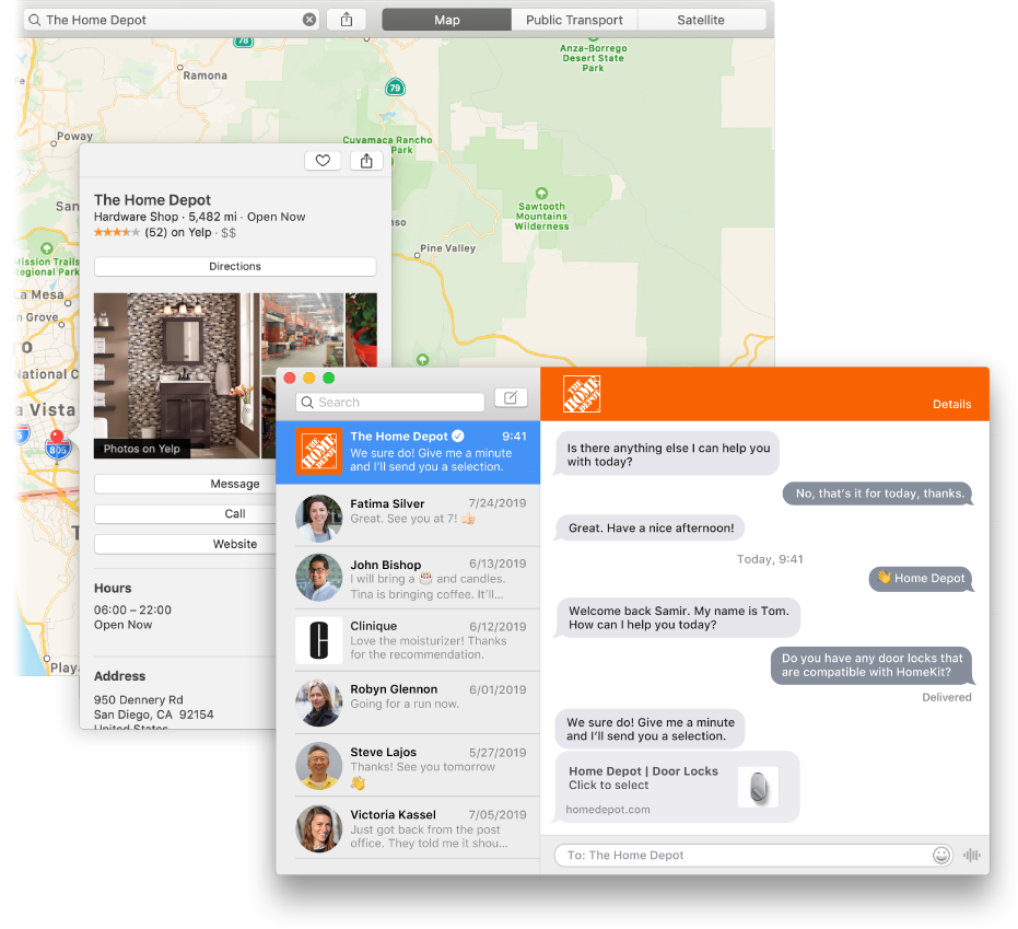 A Maps search result for a business that uses Business Chat, and the resulting conversation in the Messages window.