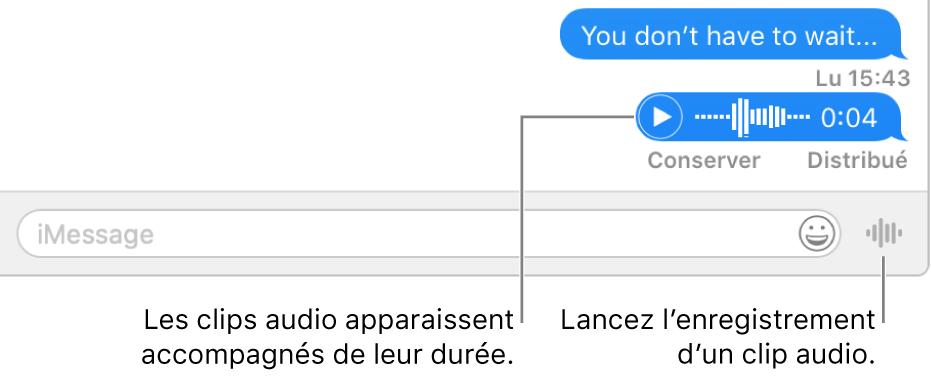 Une conversation dans la fenêtreMessages avec le bouton«Envoyer un message vocal» en regard de la zone de texte au bas de la fenêtre.
