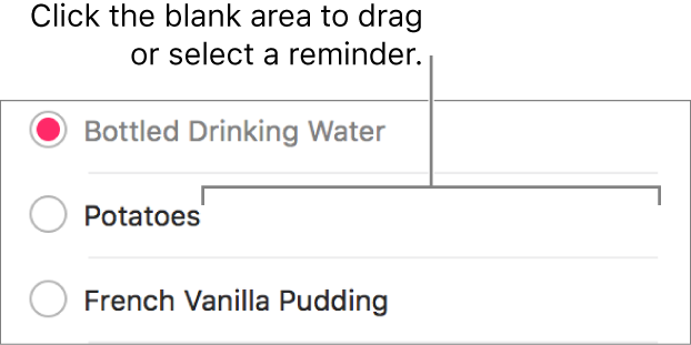 Click the blank area to the right of a reminder name to select the reminder.