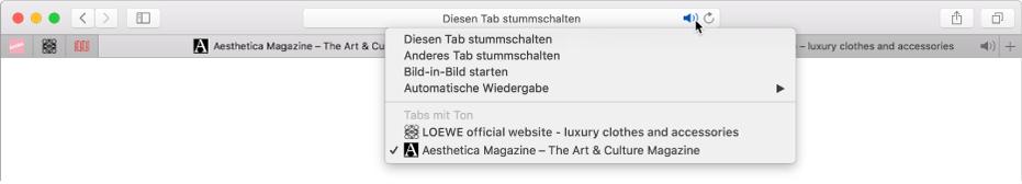 Liste der Websites, auf der Audiomaterial wiedergegeben wird.