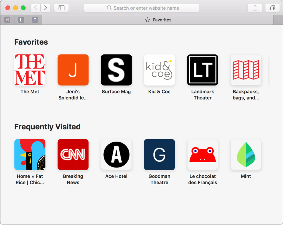 The Safari start page, showing favorite and frequently visited websites.