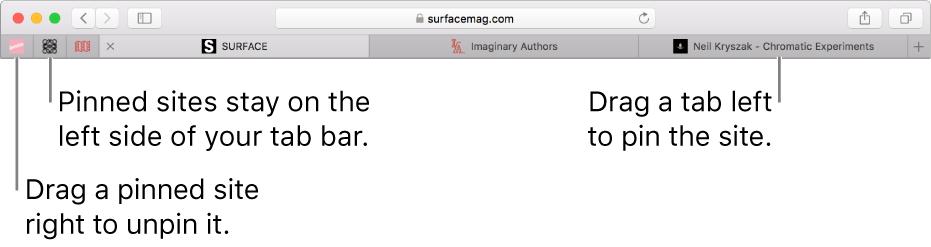 Pinned sites in the Safari tab bar.
