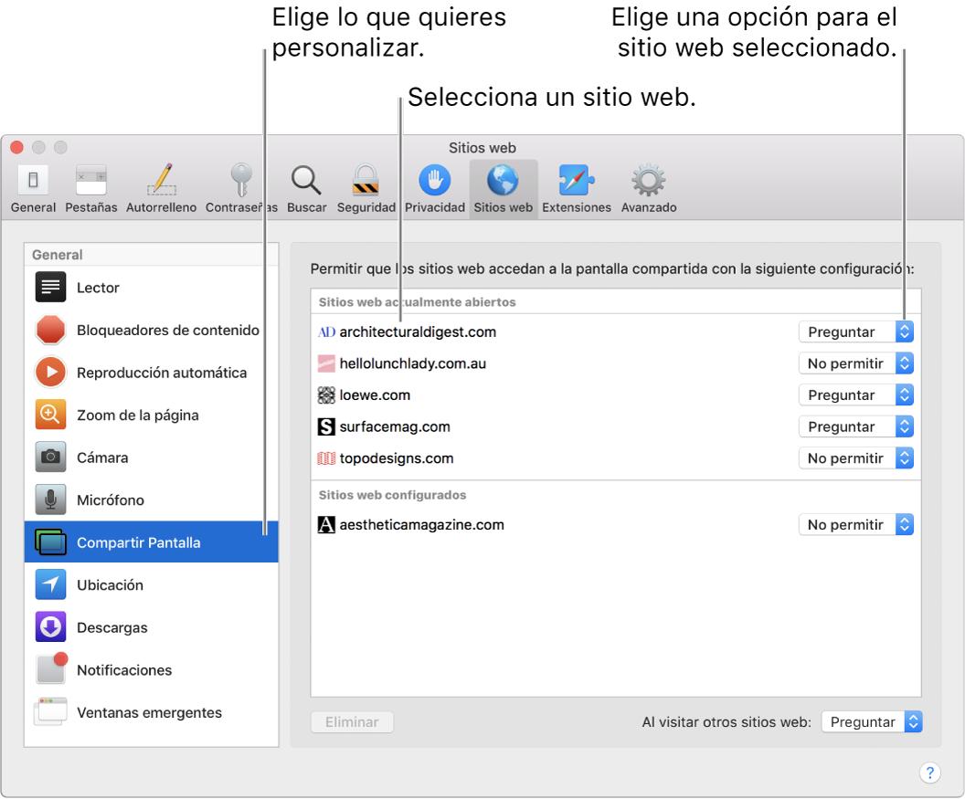 """El panel """"Sitios web"""" de """"Preferencias Safari"""", donde puedes personalizar cómo navegas cada sitio web en lo particular."""