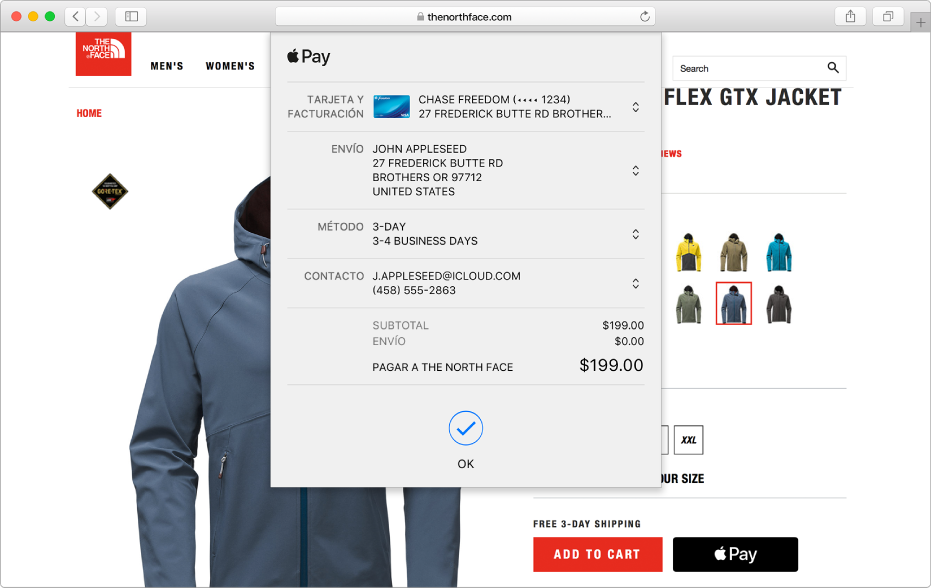 Un sitio popular de compras que permite Apple Pay y los detalles de tu compra incluyendo qué tarjeta de crédito fue cargada, la información de envío, la información de la tienda y el precio de compra.