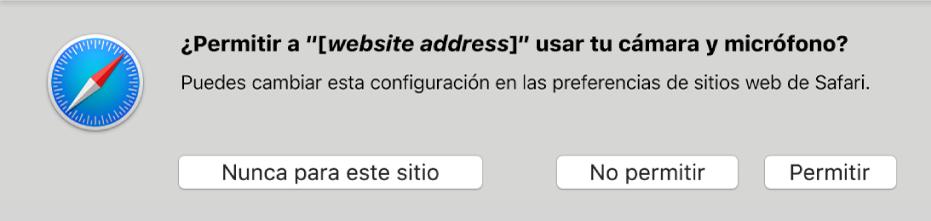 Cuadro de diálogo mostrando las opciones para compartir la cámara y el micrófono de tu Mac con un sitio web.