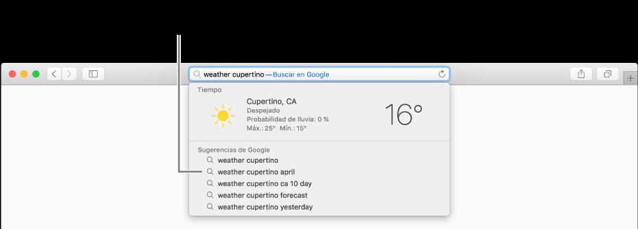 """Frase de búsqueda """"tiempo cupertino"""" introducida en el campo de búsqueda inteligente y el resultado de las sugerencias de Safari."""