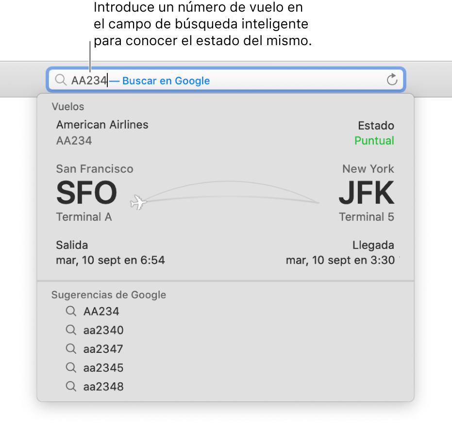Un número de vuelo introducido en el campo de búsqueda inteligente, con el estado del vuelo mostrado directamente a continuación.