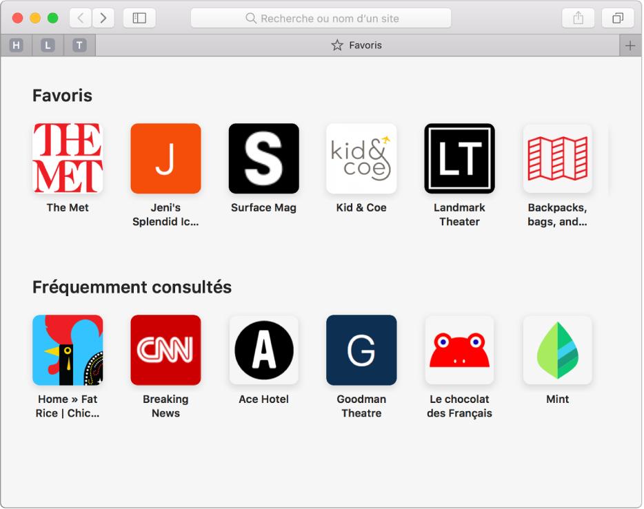 La page d'accueil de Safari, avec les sites web favoris et fréquemment visités.