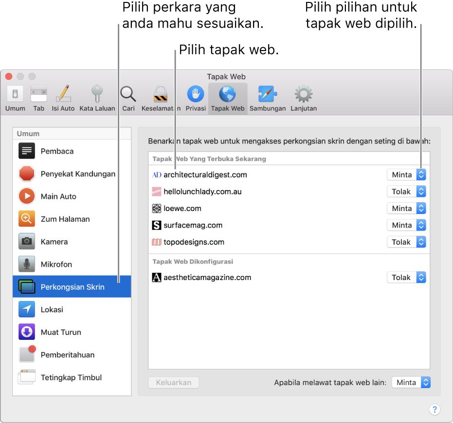 Anak tetingkap Tapak Web keutamaan Safari, di mana anda boleh sesuaikan cara anda melayari tapak web individu.