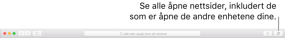 Verktøylinjen, som viser Vis alle faner-knappen.