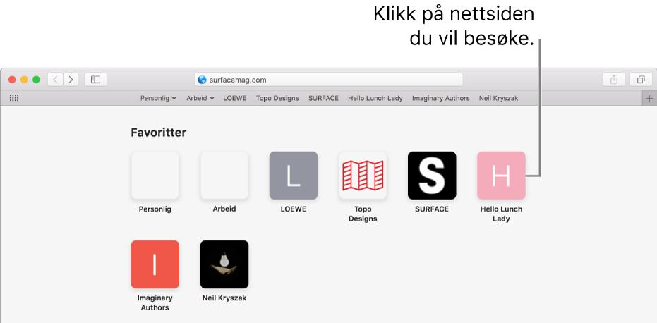 Adresse- og søkefeltet i Safari, med symboler for favorittnettsteder under.