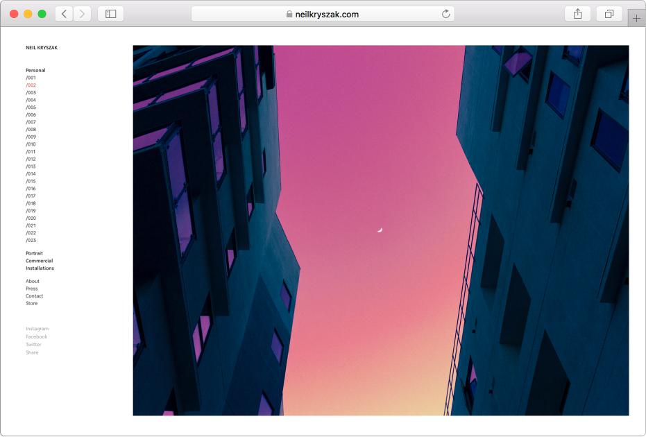 显示杂志网站的 Safari 浏览器窗口。