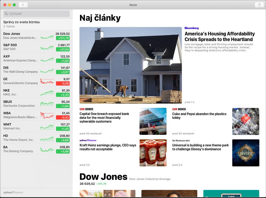 Okno aplikácie Akcie zobrazujúce novinový článok.
