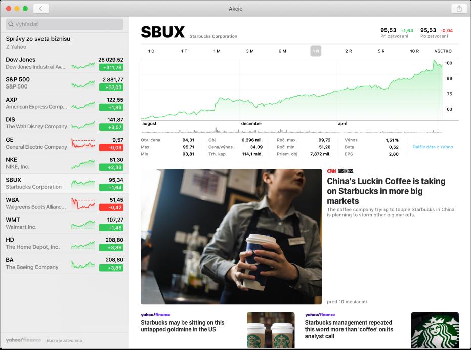 Okno aplikácie Akcie, ktoré zobrazuje zoznam sledovaných akcií vľavo, graf v pravom hornom rohu a titulky správ v pravom dolnom rohu.