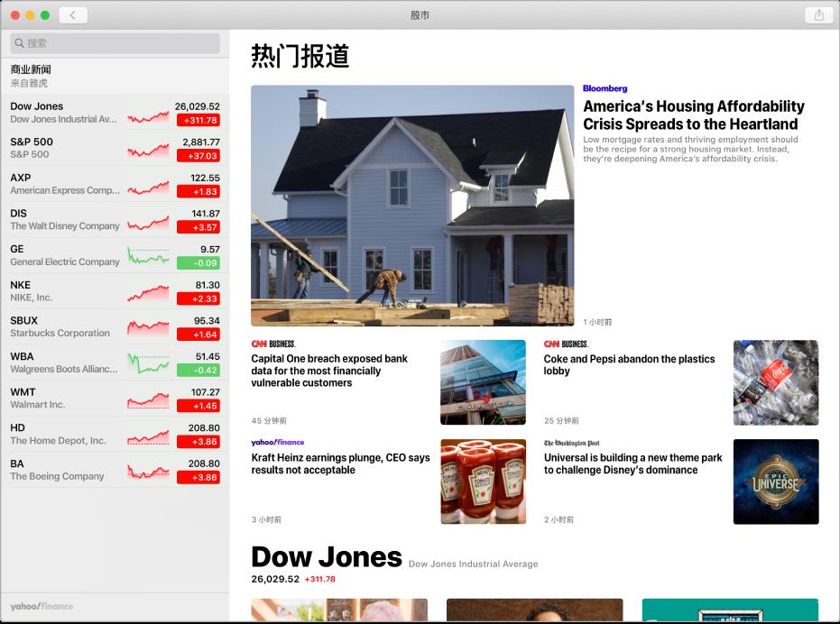 """显示新闻文章的""""股市""""窗口。"""