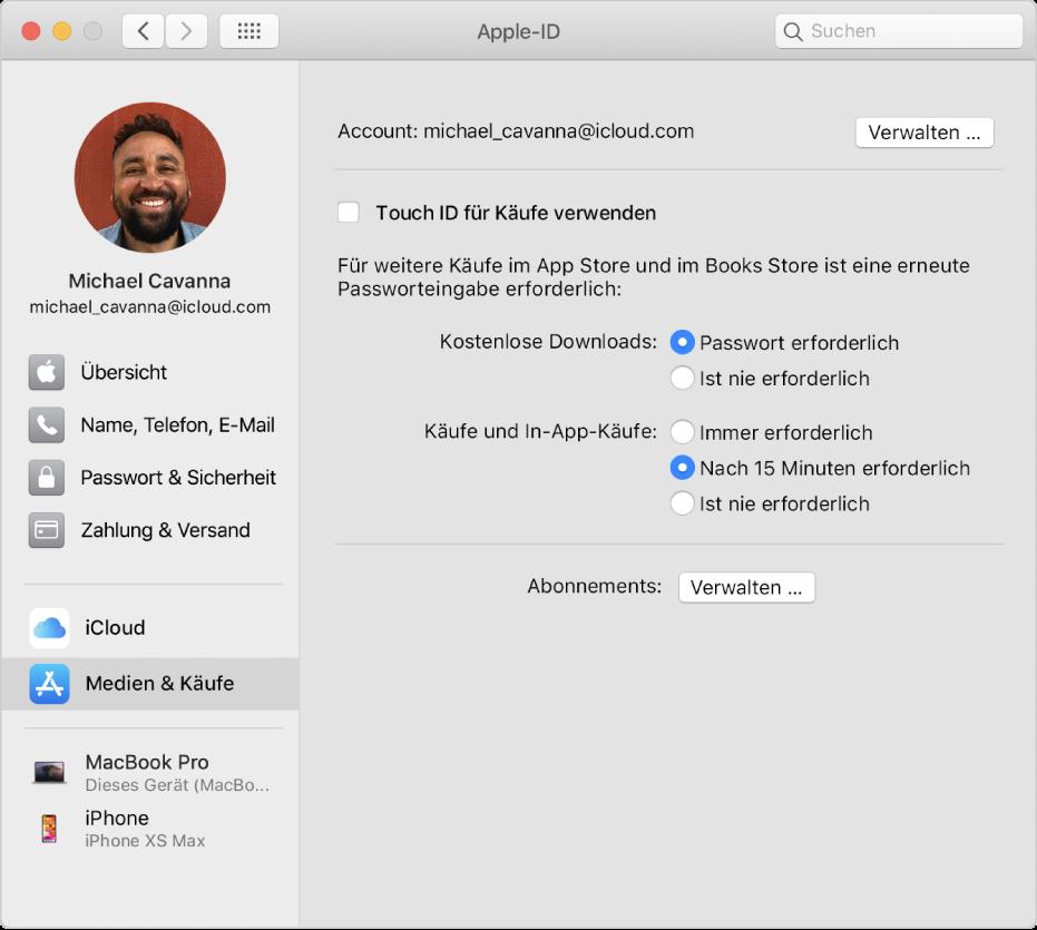 """Systemeinstellung """"Apple-ID"""" mit einer Seitenleiste der verschiedenen Typen von Accountoptionen, die du verwenden kannst, und Einstellungen unter """"Medien & Käufe"""" eines vorhandenen Accounts"""