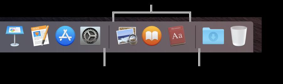 """Das rechte Ende des Docks Füge Apps links neben dem Bereich mit den zuletzt verwendeten Apps hinzu und füge Ordner rechts neben diesem Bereich hinzu. Dort befinden sich auch der Stapel """"Downloads"""" und der Papierkorb."""