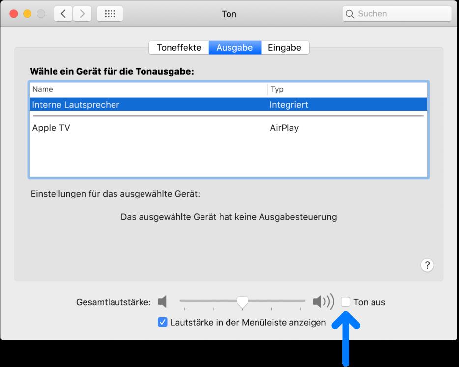 """Das Feld """"Ton aus"""" unten im Bereich """"Ausgabe"""" der Systemeinstellung """"Ton""""."""