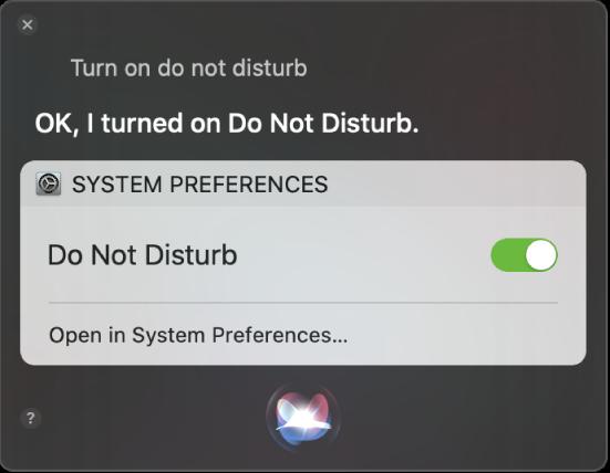 Το παράθυρο του Siri που δείχνει ένα αίτημα για ολοκλήρωση της εργασίας, «Turn on do not disturb».