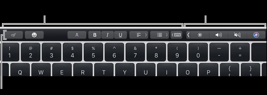 Το Touch Bar, κατά μήκος του πάνω μέρους του πληκτρολογίου, όπου εμφανίζονται κουμπιά που διαφέρουν ανά εφαρμογή ή εργασία στα αριστερά και το συμπτυγμένο Control Strip στα δεξιά.