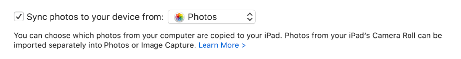 """Sync photos to your device from "" tickbox appears with ""Photos"" chosen in the pop-up menu."