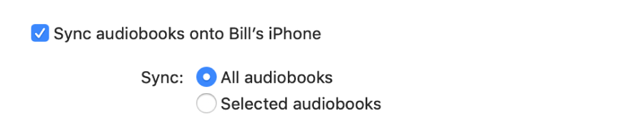 """Sync audiobooks onto device"" tickbox appears with the ""All audiobooks"" button selected and the ""Selected audiobooks"" button unselected."