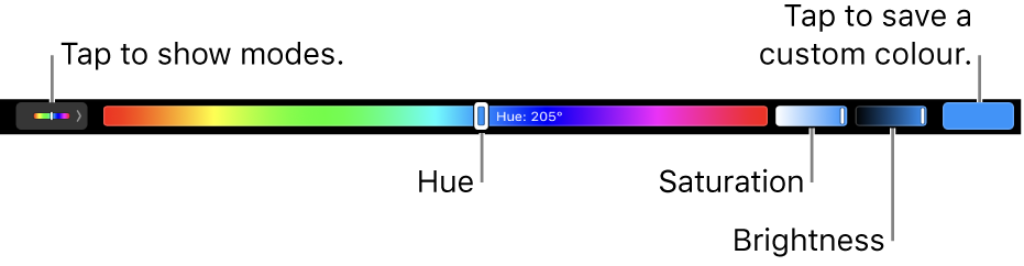 The Touch Bar showing hue, saturation and brightness sliders for the HSB mode. At the left end is the button to show all modes; at the right, the button to save a custom colour.