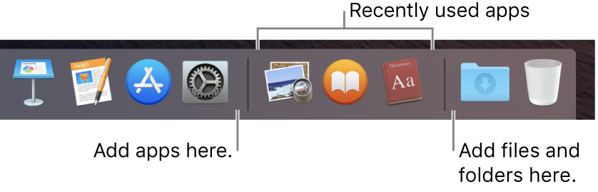 A portion of the Dock, showing the separator lines between apps, recently used apps, and files and folders.