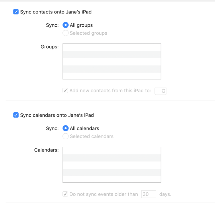 """The Info syncing options showing the """"Sync contact on device"""" and """"Sync calendars onto device"""" checkboxes and options for selecting groups of contacts and a selection of calendars."""