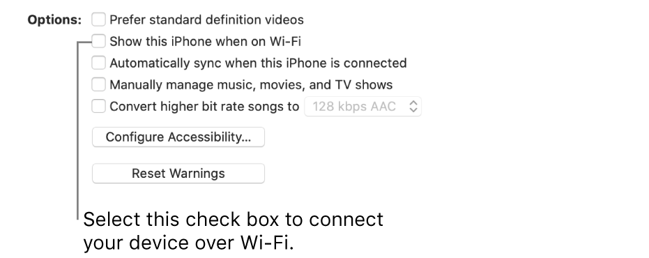 """The sync options showing checkboxes to manually manage content items with the """"Show this [device] when on Wi-Fi"""" checkbox identified."""